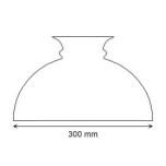 Opalvit munblåst Rochesterskärm 296-299 mm. HxB: 180x300 mm.