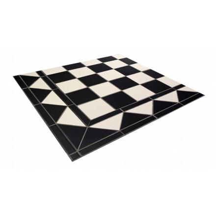 Golvklinker (lösa plattor) Chequers, svart/vit