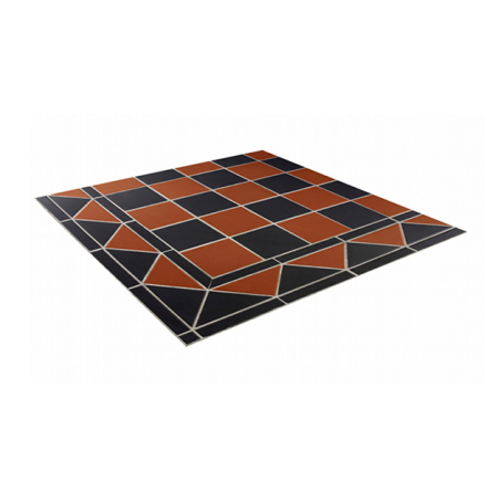 Golvklinker (lösa plattor) Chequers, svart/brick