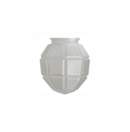 Matterad munblåst Flänsskärm Glob 76-80 mm. HxB: 150x135 mm.