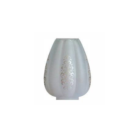 Matterad munblåst fotogenkupa 69-71 mm. HxB: 210x170 mm.